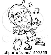 Clipart Of A Black And White Senior Female Rugby Player Doing A Happy Dance Royalty Free Vector Illustration