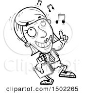 Clipart Of A Black And White Senior Female College Student Doing A Happy Dance Royalty Free Vector Illustration