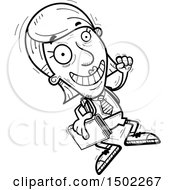 Clipart Of A Black And White Jumping Senior Female College Student Royalty Free Vector Illustration