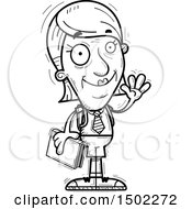 Clipart Of A Black And White Waving Senior Female College Student Royalty Free Vector Illustration