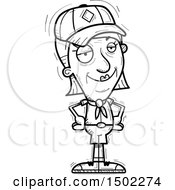 Clipart Of A Black And White Confident Senior Female Scout Royalty Free Vector Illustration