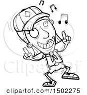 Clipart Of A Black And White Senior Female Scout Doing A Happy Dance Royalty Free Vector Illustration