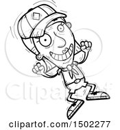 Clipart Of A Black And White Jumping Senior Female Scout Royalty Free Vector Illustration