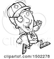 Clipart Of A Black And White Running Senior Female Scout Royalty Free Vector Illustration