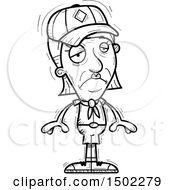Clipart Of A Black And White Sad Senior Female Scout Royalty Free Vector Illustration