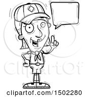 Clipart Of A Black And White Talking Senior Female Scout Royalty Free Vector Illustration