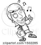 Clipart Of A Black And White Senior Female Community College Student Doing A Happy Dance Royalty Free Vector Illustration