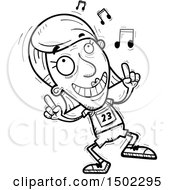 Clipart Of A Black And White Senior Female Track And Field Athlete Doing A Happy Dance Royalty Free Vector Illustration