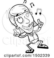 Clipart Of A Black And White Happy Dancing Senior Business Woman Royalty Free Vector Illustration