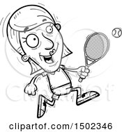 Clipart Of A Black And White Running Senior Woman Tennis Player Royalty Free Vector Illustration