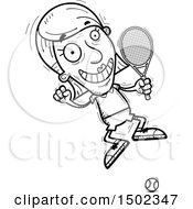 Clipart Of A Black And White Jumping Senior Woman Tennis Player Royalty Free Vector Illustration