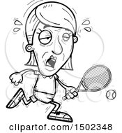 Clipart Of A Black And White Tired Senior Woman Tennis Player Royalty Free Vector Illustration