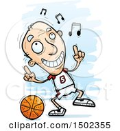 Clipart Of A  White Senior Male Basketball Player Doing A Happy Dance Royalty Free Vector Illustration