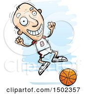 Jumping White Senior Male Basketball Player