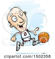 Running White Senior Male Basketball Player