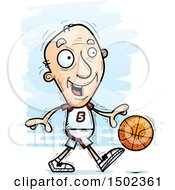Dribbling White Senior Male Basketball Player