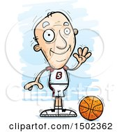 Clipart Of A Waving White Senior Male Basketball Player Royalty Free Vector Illustration