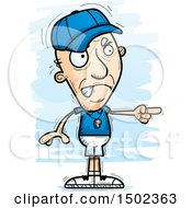 Clipart Of A Mad Pointing White Senior Male Coach Royalty Free Vector Illustration