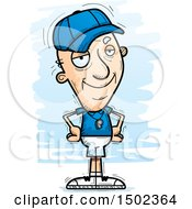 Clipart Of A Confident White Senior Male Coach Royalty Free Vector Illustration