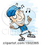 Clipart Of A White Senior Male Coach Doing A Happy Dance Royalty Free Vector Illustration
