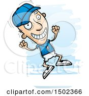 Clipart Of A Jumping White Senior Male Coach Royalty Free Vector Illustration