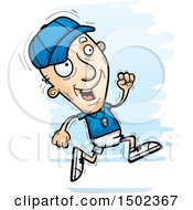 Clipart Of A Running White Senior Male Coach Royalty Free Vector Illustration