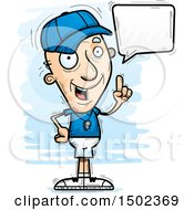 Clipart Of A Talking White Senior Male Coach Royalty Free Vector Illustration