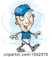Clipart Of A Walking White Senior Male Coach Royalty Free Vector Illustration