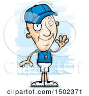 Clipart Of A Waving White Senior Male Coach Royalty Free Vector Illustration