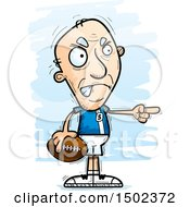 Clipart Of A Mad Pointing White Senior Male Football Player Royalty Free Vector Illustration