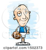 Clipart Of A Confident White Senior Male Football Player Royalty Free Vector Illustration