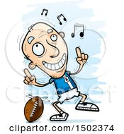 Clipart Of A White Senior Male Football Player Doing A Happy Dance Royalty Free Vector Illustration