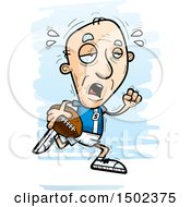 Clipart Of A Tired Running White Senior Male Football Player Royalty Free Vector Illustration