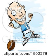 Clipart Of A Jumping White Senior Male Football Player Royalty Free Vector Illustration