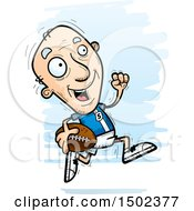 Clipart Of A Running White Senior Male Football Player Royalty Free Vector Illustration
