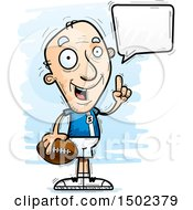 Clipart Of A Talking White Senior Male Football Player Royalty Free Vector Illustration