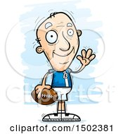 Clipart Of A Waving White Senior Male Football Player Royalty Free Vector Illustration