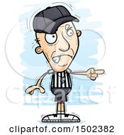 Clipart Of A Mad Pointing White Senior Male Referee Royalty Free Vector Illustration