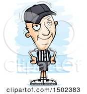 Clipart Of A Confident White Senior Male Referee Royalty Free Vector Illustration