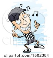 Clipart Of A White Senior Male Referee Doing A Happy Dance Royalty Free Vector Illustration
