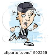 Clipart Of A Tired Running White Senior Male Referee Royalty Free Vector Illustration