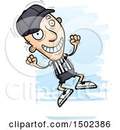 Clipart Of A Jumping White Senior Male Referee Royalty Free Vector Illustration