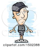 Clipart Of A Sad White Senior Male Referee Royalty Free Vector Illustration