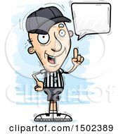 Clipart Of A Talking White Senior Male Referee Royalty Free Vector Illustration