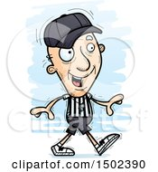 Clipart Of A Walking White Senior Male Referee Royalty Free Vector Illustration
