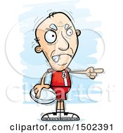 Clipart Of A Mad Pointing White Senior Male Rugby Player Royalty Free Vector Illustration