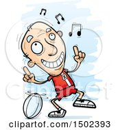 Clipart Of A White Senior Male Rugby Player Doing A Happy Dance Royalty Free Vector Illustration