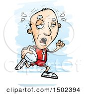 Clipart Of A Tired Running White Senior Male Rugby Player Royalty Free Vector Illustration