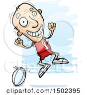 Clipart Of A Jumping White Senior Male Rugby Player Royalty Free Vector Illustration