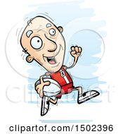 Clipart Of A Running White Senior Male Rugby Player Royalty Free Vector Illustration